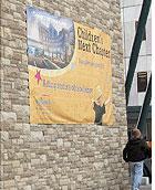 Large construction banner for Children's Hospital